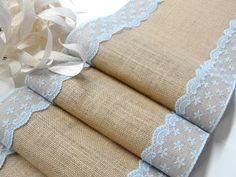 Wedding burlap and sky blue lace table runner country wedding table runner rustic wedding table decor handmade in the USA
