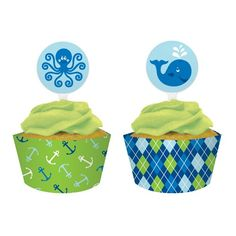 Scalloped 12 count Hearts and Stars Cupcake Wrappers Light Blue