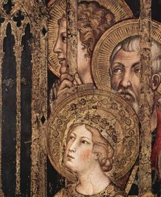 Сиена. палаццо пубблико. Мартини, Симоне Мадонна на троне как покровительница города в окружении святых. Фреска из Палаццо Пубблико в Сиене. Фрагмент. Святые, 1315, Фреска