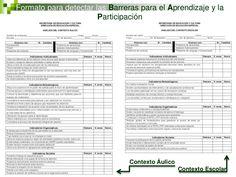 Formato para detectar las Barreras para el Aprendizaje y la                       Participación                           ...