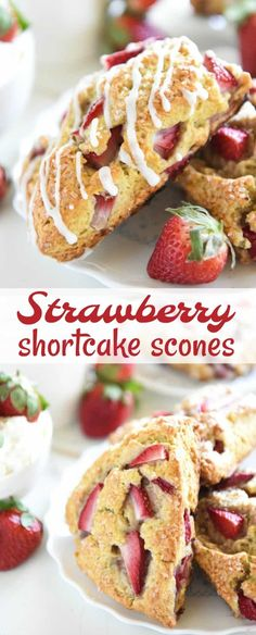 Strawberry Shortcake Scones: tender scones are stuffed with fresh strawberries, topped with vanilla cream icing andare easily made with your food processor!