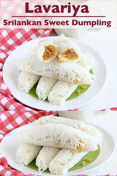 Lavariya, a Srilankan sweet dumpling which is made from the sweet coconut stuffing wrapped by the lacey rice flour outer layer. #lavariya Best Dessert Recipes, Fun Desserts, Indian Food Recipes, Sweet Recipes, Delicious Desserts, Yummy Treats, Healthy Recipes, Sweet Dumplings, Food Art