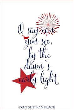 Free Patriotic Printable Art | First words of the Star Spangled Banner | Use for DIY place setting decor, cards, crafts, wall art and more!