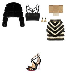 """""""Untitled #3544"""" by anamaria-zgimbau ❤ liked on Polyvore featuring Balmain, Givenchy, Christian Louboutin, Whiting & Davis and Lizzie Fortunato"""