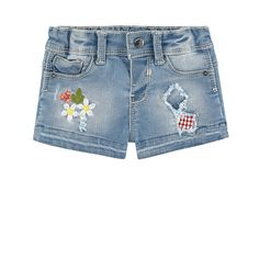 Stretch denim Super stretch Short cut Five pockets Adjustable waistband with an inner buttoned elastic strap  Logo button Logo rivets Embroidered flowers Distressed patches on the front Logo patch at the back - 34,00 €