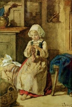 Young girl sewing by Jules Trayer