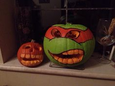 Tmnt turtles pumpkin for Halloween mikey!!