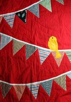 "Handmade baby ""Bird"" quilt. Really like this one."