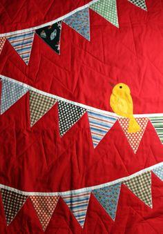 "Handmade baby ""Bird"" quilt."
