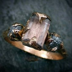 Raw Pink Tourmaline Diamond 14k Rose Gold Engagement Ring Wedding Ring One Of a Kind Gemstone Ring Bespoke Three stone Ring byAngeline by byAngeline on Etsy https://www.etsy.com/listing/253083360/raw-pink-tourmaline-diamond-14k-rose