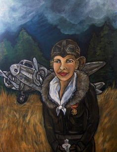 Amelia Where are You  Amelia Earhart Acrylic Painting by solamar7, $75.00