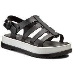 Sandały MELISSA - Melissa Flox III Ad 31706 Black/White 51708 Melissa Flox, Ads, Black And White, Sandals, Shoes, Fashion, Moda, Shoes Sandals, Zapatos