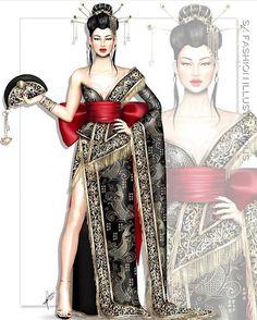 By SX Fashion Illustrations Fashion Drawing Dresses, Fashion Illustration Dresses, Fashion Illustrations, Fashion Illustration Tutorial, Fashion Design Drawings, Fashion Sketches, Moda Fashion, Covet Fashion, Fashion Images