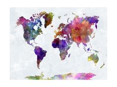 World Map in Watercolorpurple and Blue Art Print by paulrommer at Art.com