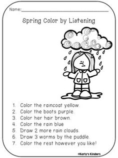 Spring Color by Listening (A Following Directions Activity) Kindergarten Activities, Learning Activities, Kids Learning, Activities For Kids, Preschool, Therapy Activities, Listening Skills, Listening Games, Listening Test