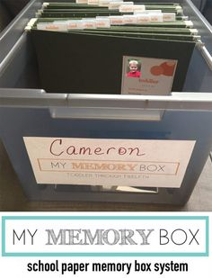 YES! Finally a great way to create a school memory box and organize kids school papers once and for all-- from their toddler years through twelfth grade! What a great school keepsake to pass on to kids too!