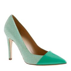 J. Crew Sasha Snakeskin Pumps - I don't wear a lot of sea-foam green but this design and shape is so gorgeous, I might have to reconsider...