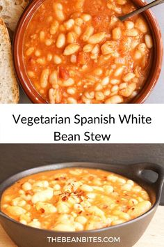 This super easy to make vegetarian Spanish white beans stew makes a filling main course or a great side dish. Or it makes a great addition to an evening of Spanish tapas. Vegetarian | White Bean… Spanish White Beans Recipe, White Bean Recipes, Bean Soup Recipes, Chickpea Recipes, Vegetarian Tapas, Vegetarian Recipes, Midweek Meals, Easy Meals, Authentic Spanish Recipes