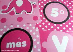 Mesversário. Tema:elefante Kit festa personalizada para comemorar o mesversário do seu bebê. Kit de mesversário para meninas. Itens prontos para personalizar sua festa.