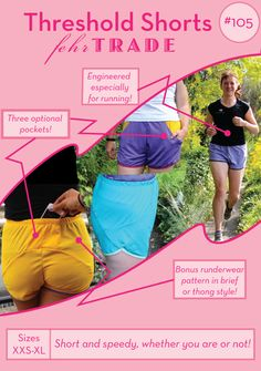 Threshold Shorts - PDF sewing pattern for running and exercise - unique seamlines & bonus rundewear Pdf Sewing Patterns, Clothing Patterns, Mesh Fabric, Sewing Clothes, Body Measurements, Patterned Shorts, A Team, Elastic Waist, Kids Outfits