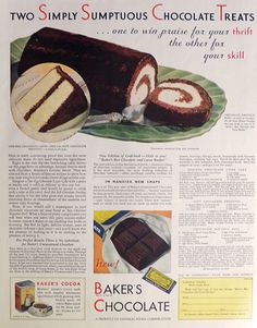 Vintage Food Advertisements of the (Page Retro Recipes, Old Recipes, Vintage Recipes, Cookbook Recipes, Candy Recipes, Bakers Chocolate, Chocolate Treats, Chocolate Recipes, Vintage Baking