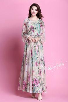 Chiffon Flowers, Chiffon Dress, Maternity Photo Dresses, Baby Shower Dresses, Muslim Dress, Evening Dresses For Weddings, Mode Hijab, Muslim Fashion, Dress Patterns