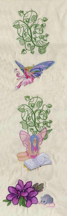 Fairy Reading Book machine embroidery design