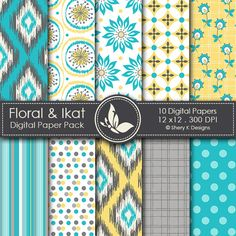Floral & Ikat- 10 Digital papers great for scrapbooking, card making, invitations, tags and photographers.