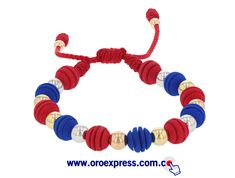 Pulsera en neopreno y oro 18k colores azul y rojo. disponible en www.oroexpress.com.co