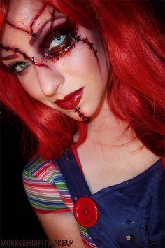 Scary ladies Chucky Halloween make up Bloody Halloween, Halloween Kostüm, Diy Halloween Costumes, Halloween Cosplay, Chucky Makeup, Doll Makeup, Costume Makeup, Sfx Makeup, Horror Makeup