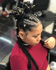 Afro hair is typically associated with natural curls that have a thick, frizzy texture. Such a distinctive type of hair might seem hard to manage, but this has not stopped African beauties from spo… Braided Hairstyles For Black Women, Kids Braided Hairstyles, African Braids Hairstyles, Trendy Hairstyles, Weave Hairstyles, Black Hairstyles, Black Girl Braids, Braids For Black Hair, Girls Braids