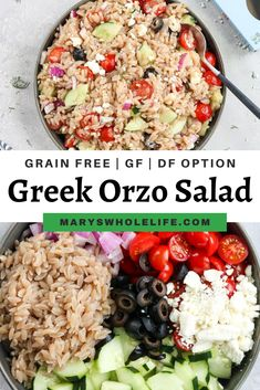 Dairy Free Salads, Dairy Free Recipes, Vegetarian Recipes, Healthy Recipes, Healthy Food, Healthy Dinners, Yummy Food, Orzo Recipes, Greek Recipes