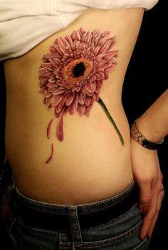 Chrysanthemum side tattoo Tattoo Girls, Small Girl Tattoos, Tattoo You, Tattoos For Women, Ladies Tattoos, Lotus Tattoo, Gerbera Daisy Tattoo, Daisy Flower Tattoos, Gerbera Flower