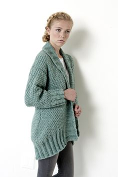 Cocoon Cardigan - Patterns | Yarnspirations | This cardi is oversized, with a drop shoulder, cocoon shape - perfect to wrap up in for fall and winter! Knit in Bernat Roving, this intermediate pattern is worked in an Irish Moss stitch pattern.