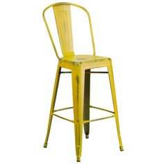 Flash Furniture Distressed Yellow Barstool [ET-3534-30-YL-GG]