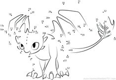How to train your dragon - Toothless dot to dot printable worksheet - Connect The Dots Pusheen Coloring Pages, Pokemon Coloring, Colouring Pages, Printable Coloring Pages, Coloring Pages For Kids, Coloring Books, Dragon Birthday Parties, Dragon Party, Cute Toothless