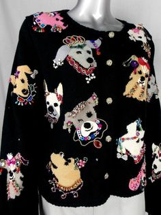 88cabfa169c8 UGLY CHRISTMAS SWEATER WINNER! Womens Size L Multi-color Dog Button Cardigan   MichaelSimon