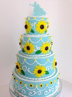 Frozen fever sunflower cake by Creative Cakes by Sharon.