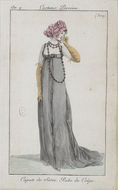 English fashion plates from 1801, and French fashion plates from Year 9 (1800-1801) of the French Republican Calendar. All images come from the collection of the Bibliothèque des Arts Décoratifs.  www.lesartsdecoratifs.fr/francais/bibliotheque/