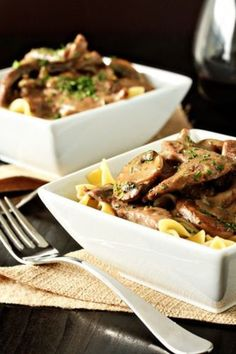 Beef Stroganoff.  Tender strips of beef and mushrooms marry with Holland House Red Wine for Cooking and sour cream to create an incredibly hearty and delicious meal.  A recipe favorite!