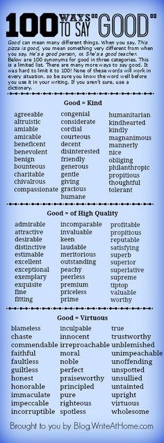 100 Ways to Say Good      http://blog.writeathome.com/index.php/2014/01/100-ways-to-say-good/