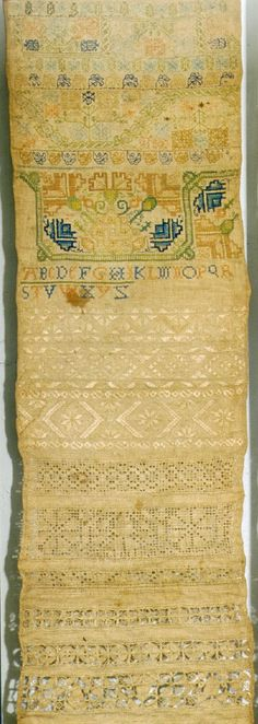 Stitch and band work sampler from the 17th century. What a treasure.
