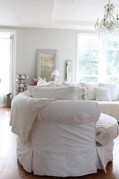Living room - white slipcovered furniture
