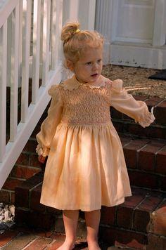 Vintage / Polly Flinders / Peach Smocked Dress by YellowBrickLayne, $34.99