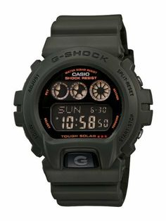 Casio Men's G6900KG-3CR G-Shock Military Green Multi-Function Digital Watch Casio. $75.00. World time (31 time zones/48 cities + utc). Water-resistant to 200 m (660 feet). 4 multi function alarms; snooze;stopwatch; countdown timer. Shock resistant; tough solar power; full auto el backlight. 12/24 hr formats; mute funtion