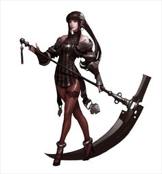 I do not know what game this image is from but i like the character because it's a small woman with a big weapon which makes her deadly and thats the impression i get from this picture. The style of this game I think is Action.