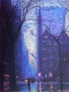 "dawnawakened: "" Lowell Birge Harrison, Fifth Avenue at Twilight (c. ""Lowell Birge Harrison merged his Beaux-Arts academic training with American Transcendentalist sensibilities. He combined a. Foto Gif, Nocturne, Love Painting, City Painting, Urban Landscape, Summer Landscape, Aesthetic Art, American Artists, Landscape Paintings"