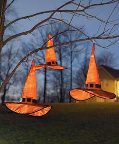 Light-up Witch Hats: Hang them anywhere, indoors or out!