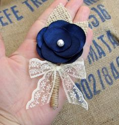 Set of 6 Rustic Navy Boutonnieres  Burlap Lace by FloroMondo