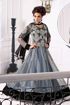Grey Net Churidar Suit with Chiffon Dupatta Price:-£65.00 Grey net select print, semi stictch anarkali suit. Neck embroidered with zari.V neck, below knee length, full sleeves kameez. Grey striaght pajami with embroidered,resham, stone and zari work. Black chiffon dupatta with work. It is perfect for party, wedding, festival and ceremonial. http://www.andaazfashion.co.uk/grey-net-churidar-suit-with-chiffon-dupatta-dmv13322.html
